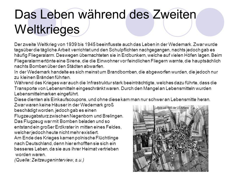 Das Leben während des Zweiten Weltkrieges Der zweite Weltkrieg von 1939 bis 1945 beeinflusste auch das Leben in der Wedemark.