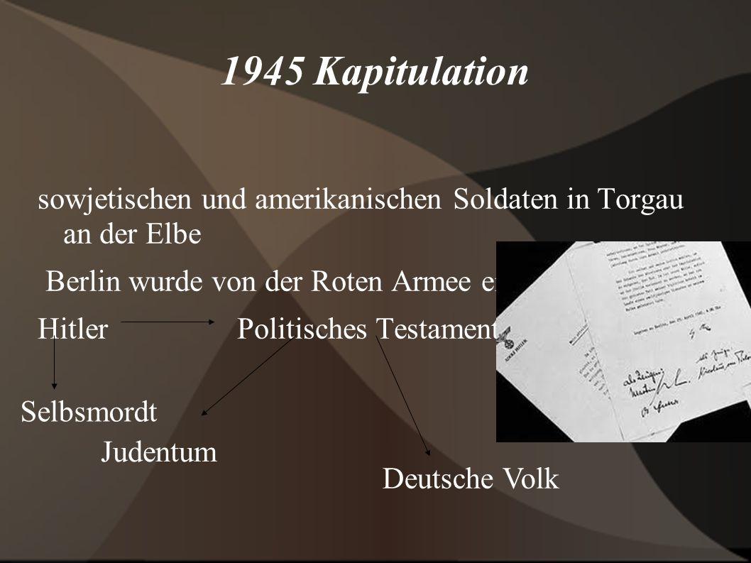 1945 Kapitulation sowjetischen und amerikanischen Soldaten in Torgau an der Elbe Berlin wurde von der Roten Armee eingeschlossen. Hitler Politisches T