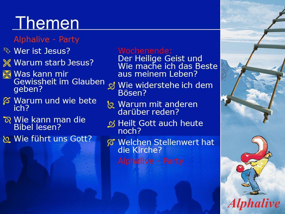 Themen Alphalive - Party ÊWer ist Jesus. ËWarum starb Jesus.