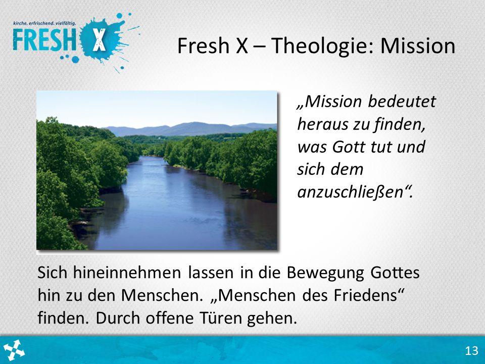 """13 Fresh X – Theologie: Mission Sich hineinnehmen lassen in die Bewegung Gottes hin zu den Menschen. """"Menschen des Friedens"""" finden. Durch offene Türe"""