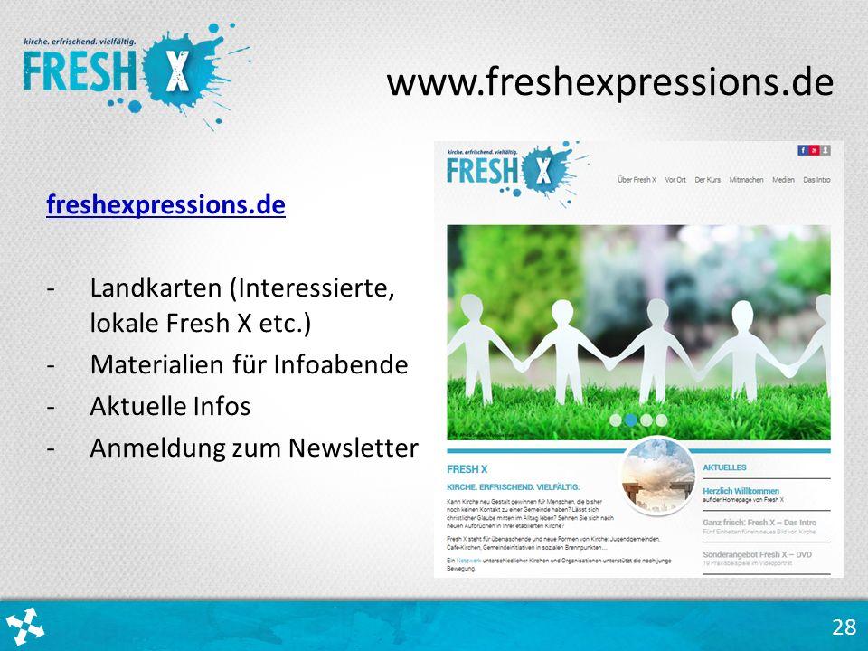 28 freshexpressions.de -Landkarten (Interessierte, lokale Fresh X etc.) -Materialien für Infoabende -Aktuelle Infos -Anmeldung zum Newsletter www.freshexpressions.de