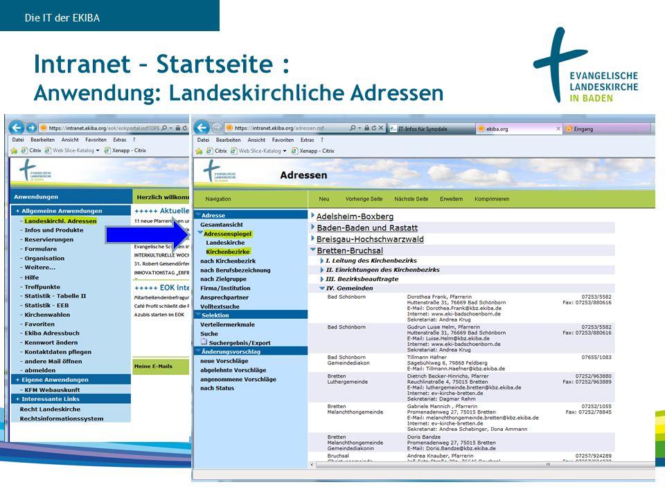 Intranet – Startseite : Anwendung: Landeskirchliche Adressen Die IT der EKIBA