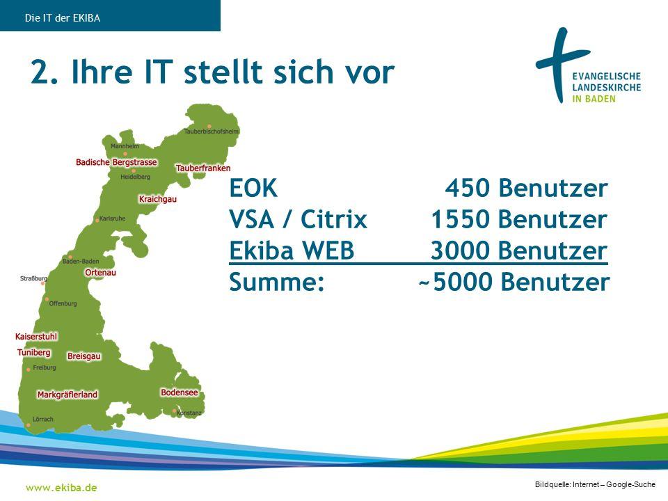 2. Ihre IT stellt sich vor www.ekiba.de Die IT der EKIBA EOK 450 Benutzer VSA / Citrix 1550 Benutzer Ekiba WEB 3000 Benutzer Summe: ~5000 Benutzer Bil
