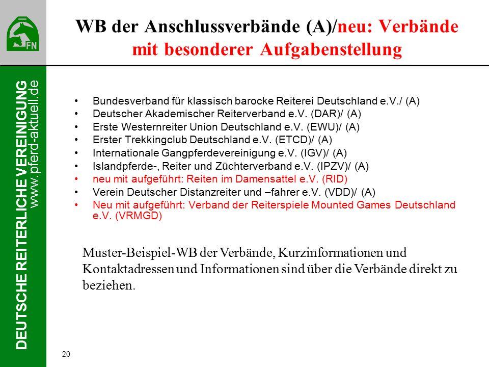 www.pferd-aktuell.de DEUTSCHE REITERLICHE VEREINIGUNG WB der Anschlussverbände (A)/neu: Verbände mit besonderer Aufgabenstellung Bundesverband für klassisch barocke Reiterei Deutschland e.V./ (A) Deutscher Akademischer Reiterverband e.V.