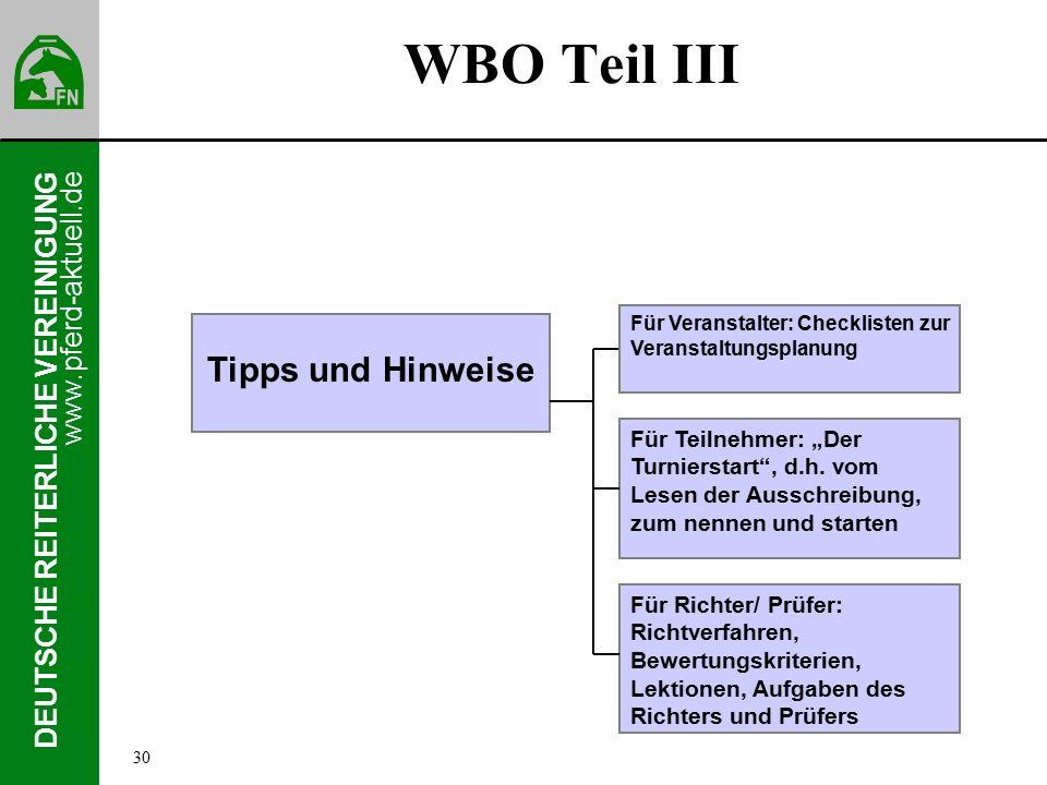 """www.pferd-aktuell.de DEUTSCHE REITERLICHE VEREINIGUNG WBO Teil III Tipps und Hinweise Für Teilnehmer: """"Der Turnierstart , d.h."""