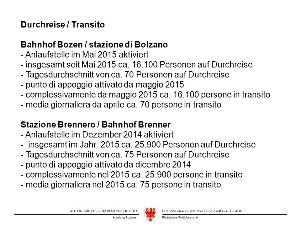 AUTONOME PROVINZ BOZEN - SÜDTIROLPROVINCIA AUTONOMA DI BOLZANO - ALTO ADIGE Ripartizione Politiche socialiAbteilung Soziales Durchreise / Transito Bahnhof Bozen / stazione di Bolzano - Anlaufstelle im Mai 2015 aktiviert - insgesamt seit Mai 2015 ca.