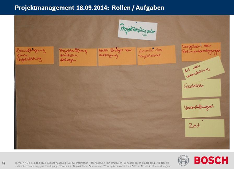 BaP/CIP-PMO | 13.10.2014 | Intranet-Ausdruck: Nur zur Information - Bei Änderung kein Umtausch | © Robert Bosch GmbH 2014.