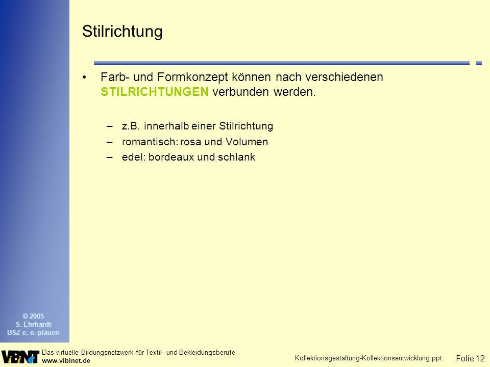 Folie 12 Das virtuelle Bildungsnetzwerk für Textil- und Bekleidungsberufe www.vibinet.de © 2005 S.