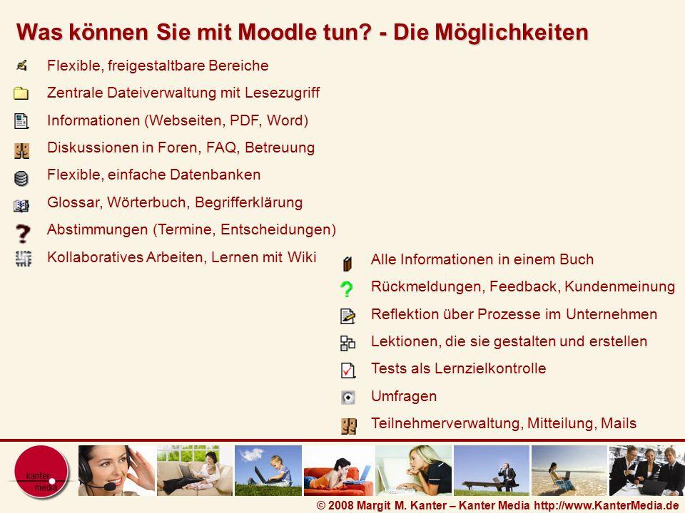 © 2008 Margit M. Kanter – Kanter Media http://www.KanterMedia.de Flexible, freigestaltbare Bereiche Zentrale Dateiverwaltung mit Lesezugriff Informati