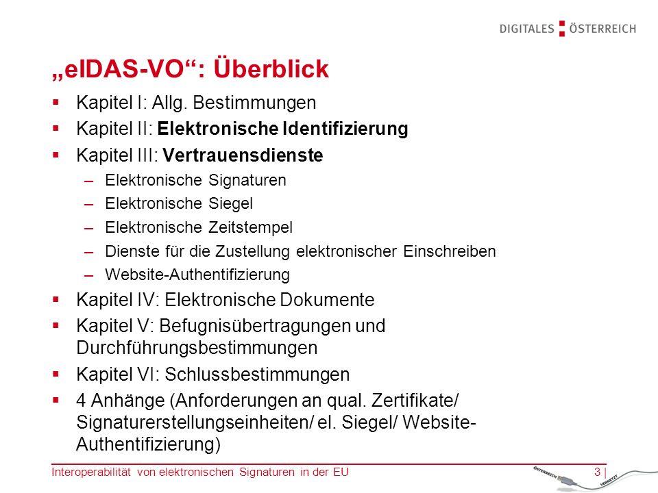 """eIDAS-VO : Überblick  Kapitel I: Allg."