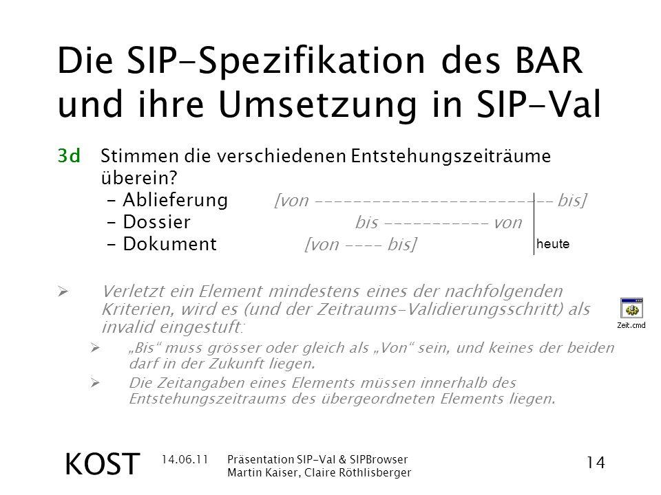 14.06.11Präsentation SIP-Val & SIPBrowser Martin Kaiser, Claire Röthlisberger 14 KOST Die SIP-Spezifikation des BAR und ihre Umsetzung in SIP-Val 3dStimmen die verschiedenen Entstehungszeiträume überein.