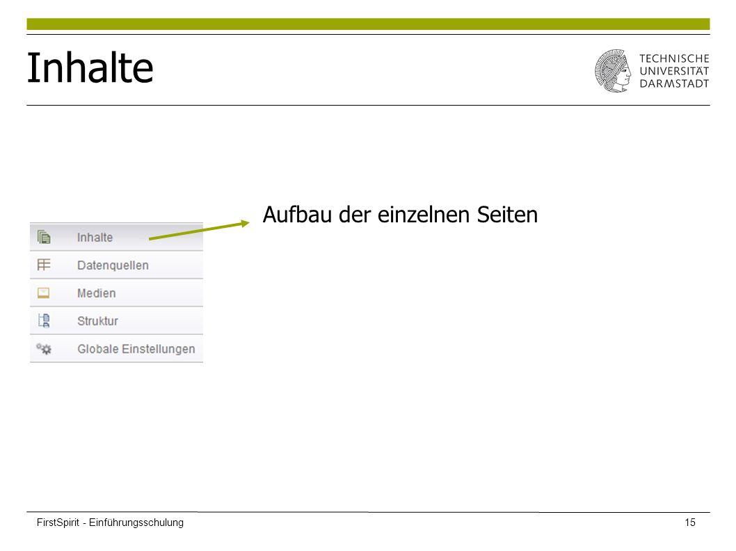 Inhalte Aufbau der einzelnen Seiten FirstSpirit - Einführungsschulung15