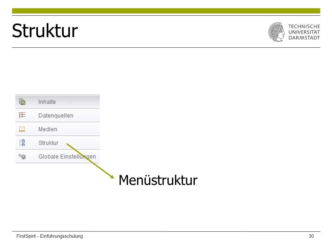 Struktur Menüstruktur FirstSpirit - Einführungsschulung30