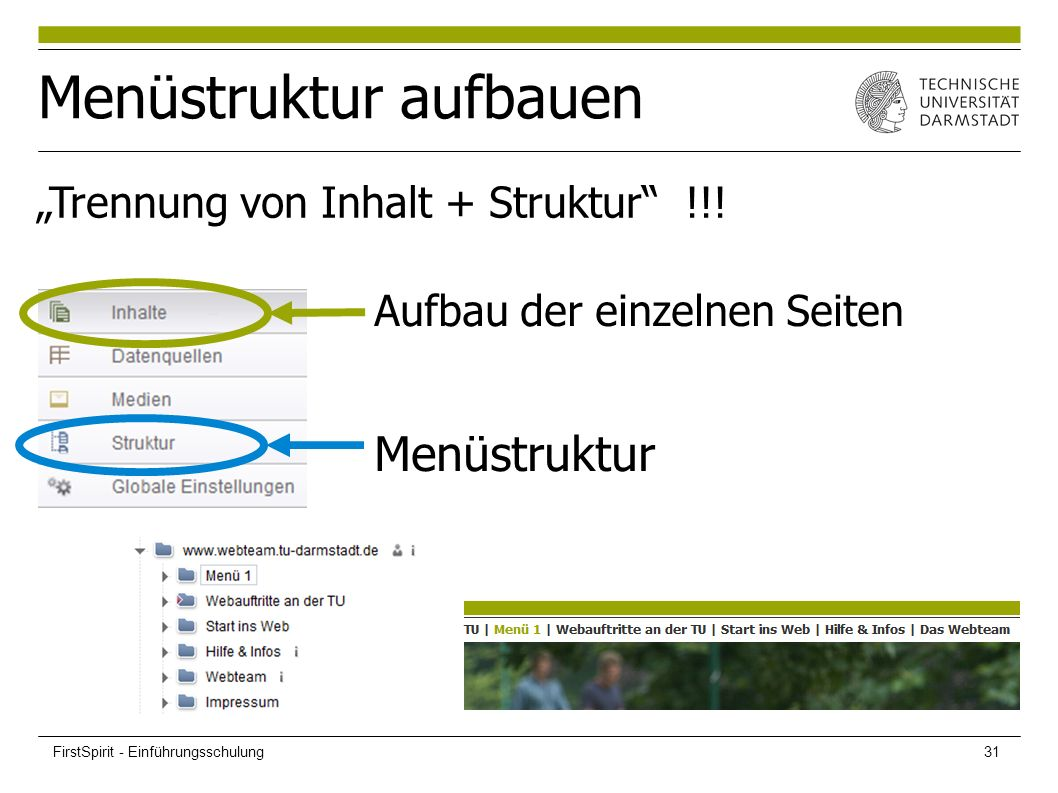 """Menüstruktur aufbauen """"Trennung von Inhalt + Struktur"""" !!! Aufbau der einzelnen Seiten Menüstruktur FirstSpirit - Einführungsschulung31"""
