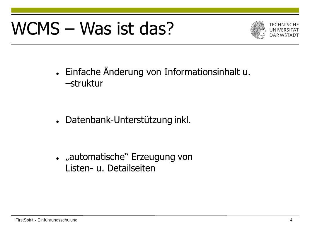 """Einfache Änderung von Informationsinhalt u. –struktur Datenbank-Unterstützung inkl. """"automatische"""" Erzeugung von Listen- u. Detailseiten WCMS – Was is"""