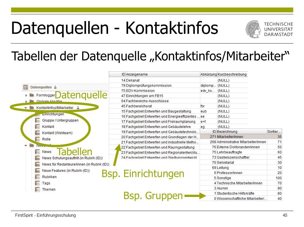 """Datenquellen - Kontaktinfos Bsp. Einrichtungen Bsp. Gruppen Tabellen der Datenquelle """"Kontaktinfos/Mitarbeiter"""" Datenquelle Tabellen FirstSpirit - Ein"""