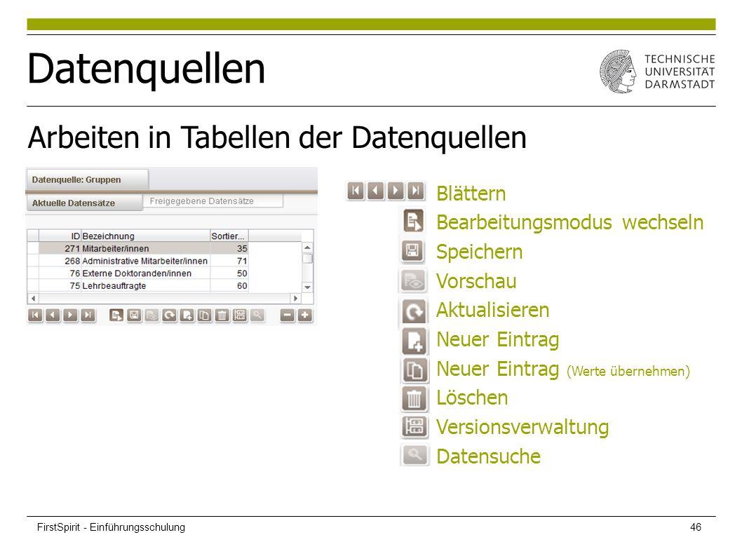 Datenquellen Arbeiten in Tabellen der Datenquellen Blättern Bearbeitungsmodus wechseln Speichern Vorschau Aktualisieren Neuer Eintrag Neuer Eintrag (Werte übernehmen) Löschen Versionsverwaltung Datensuche FirstSpirit - Einführungsschulung46