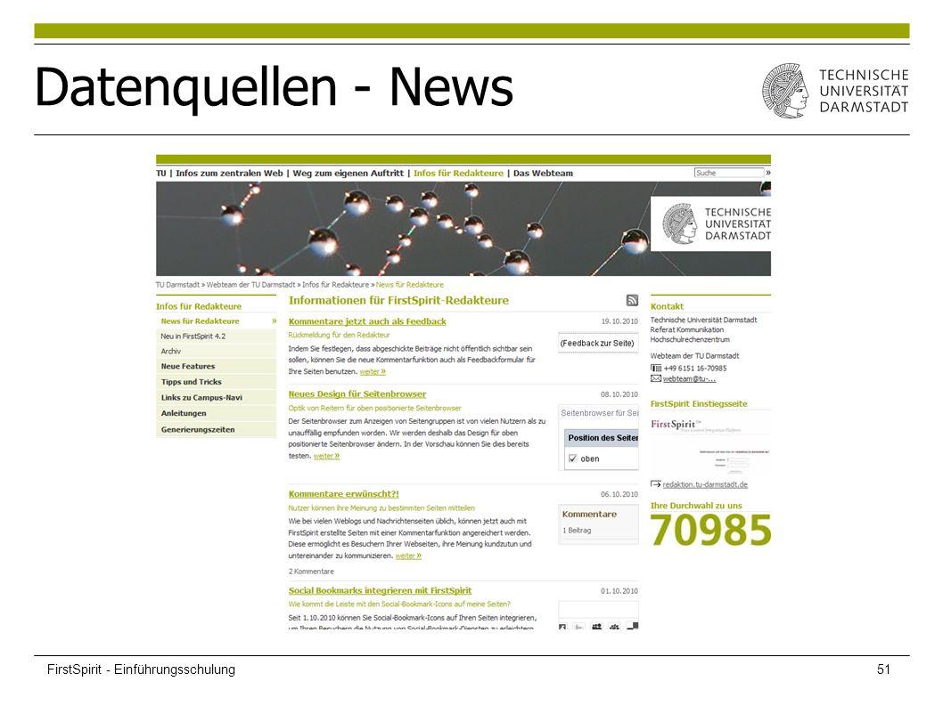 Datenquellen - News FirstSpirit - Einführungsschulung51