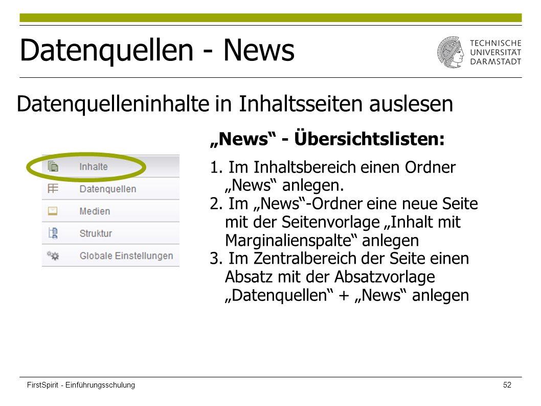 """Datenquellen - News """"News - Übersichtslisten: 1. Im Inhaltsbereich einen Ordner """"News anlegen."""