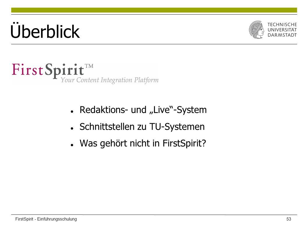 """Überblick Redaktions- und """"Live""""-System Schnittstellen zu TU-Systemen Was gehört nicht in FirstSpirit? FirstSpirit - Einführungsschulung53"""
