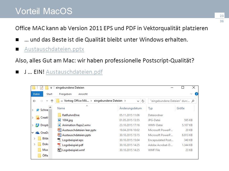36 Vorteil MacOS Office MAC kann ab Version 2011 EPS und PDF in Vektorqualität platzieren … und das Beste ist die Qualität bleibt unter Windows erhalten.