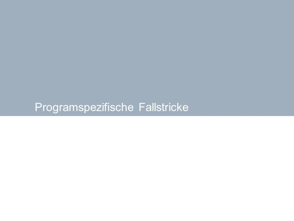 36 Programspezifische Fallstricke