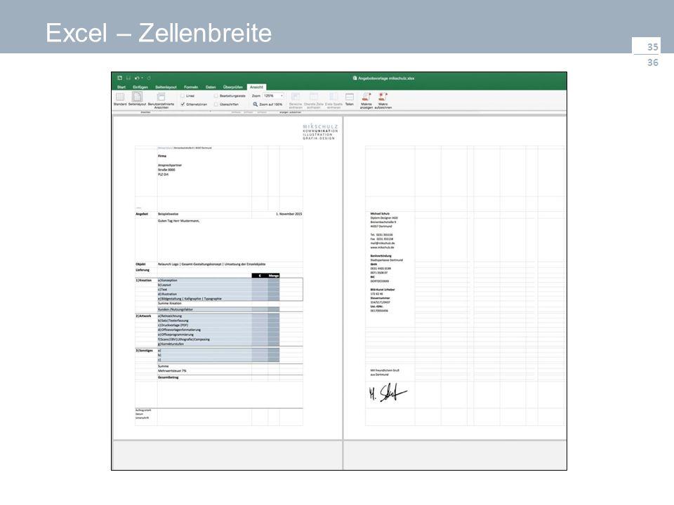 36 Excel – Zellenbreite 35