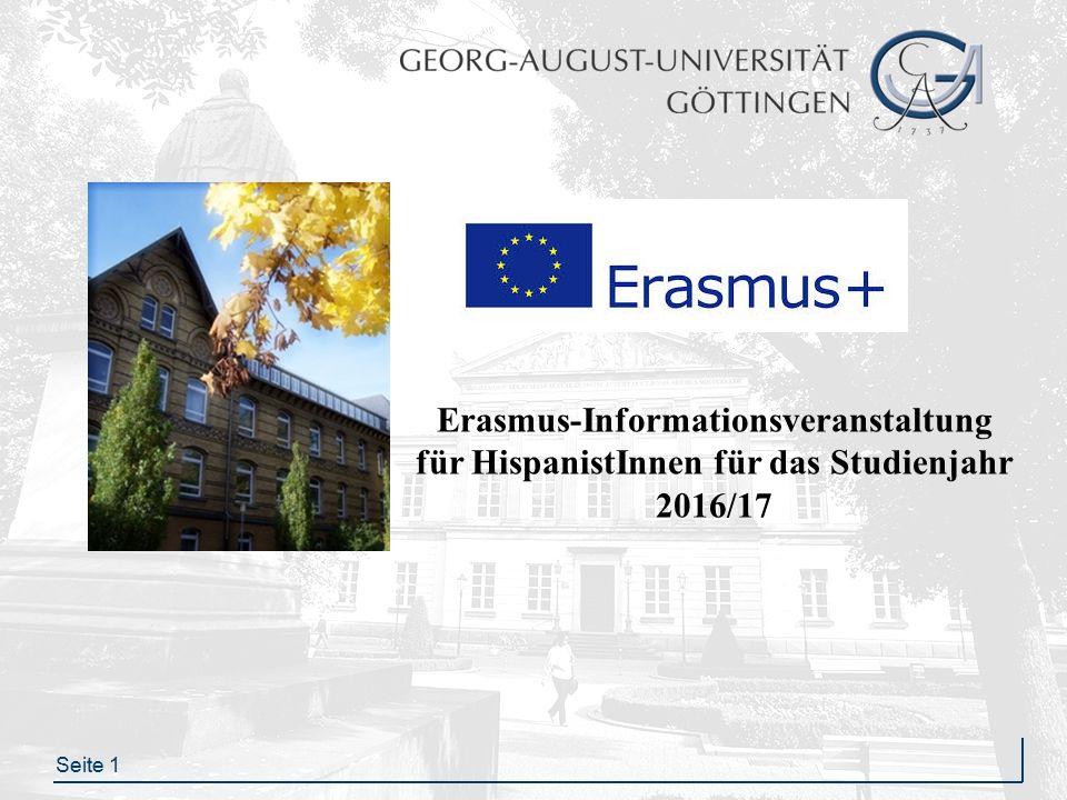 Seite 1 Erasmus-Informationsveranstaltung für HispanistInnen für das Studienjahr 2016/17