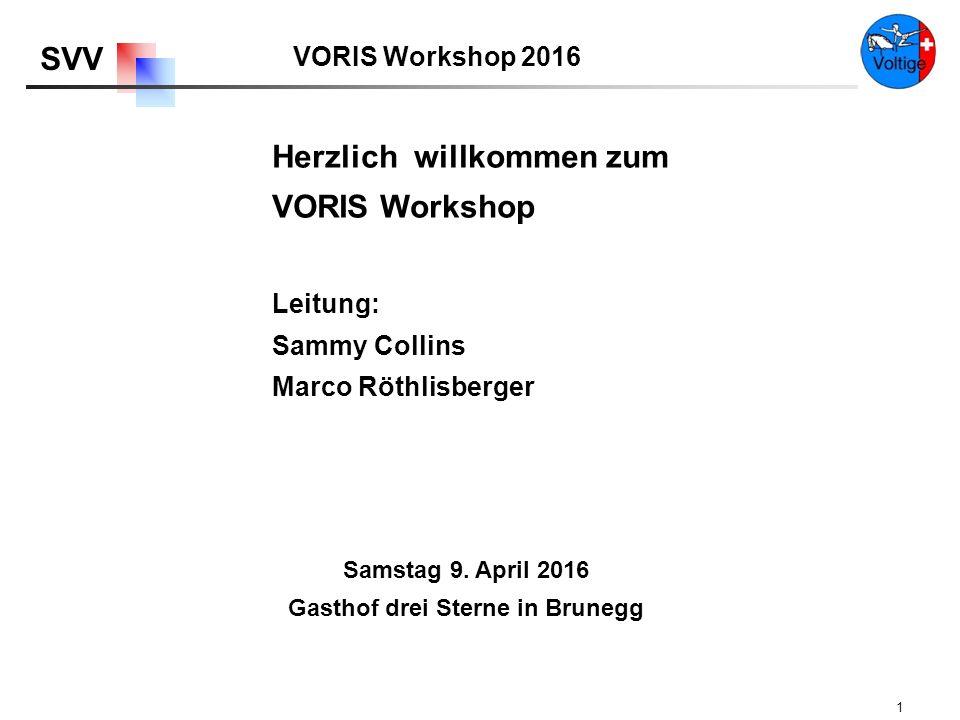 VORIS Workshop 2016 SVV 1 Herzlich willkommen zum VORIS Workshop Samstag 9.
