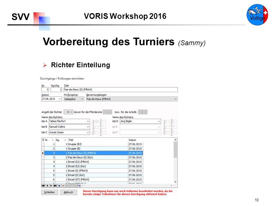 VORIS Workshop 2016 SVV 10  Richter Einteilung Vorbereitung des Turniers (Sammy)