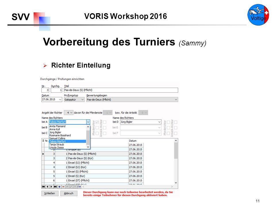 VORIS Workshop 2016 SVV 11  Richter Einteilung Vorbereitung des Turniers (Sammy)
