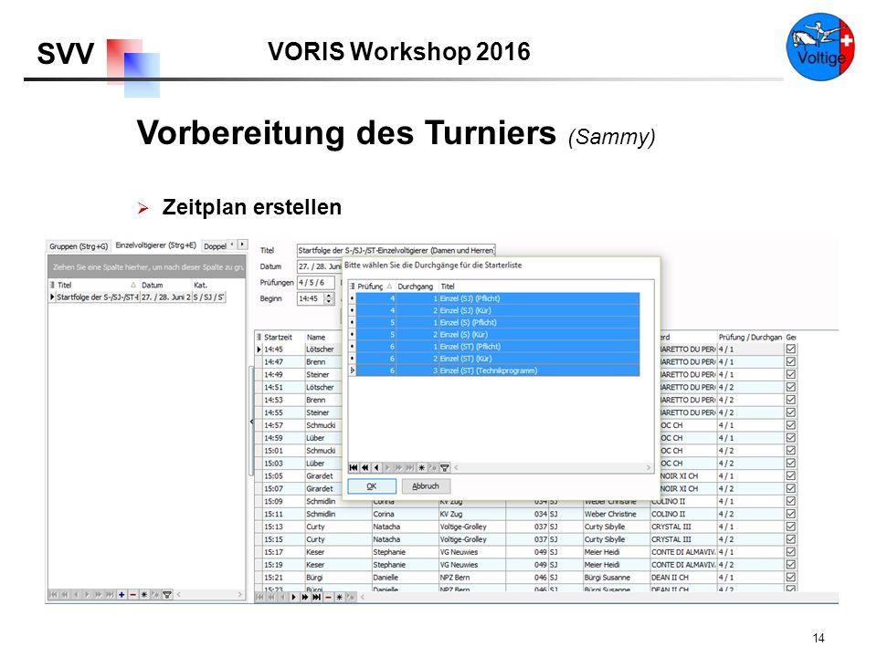VORIS Workshop 2016 SVV 14  Zeitplan erstellen Vorbereitung des Turniers (Sammy)