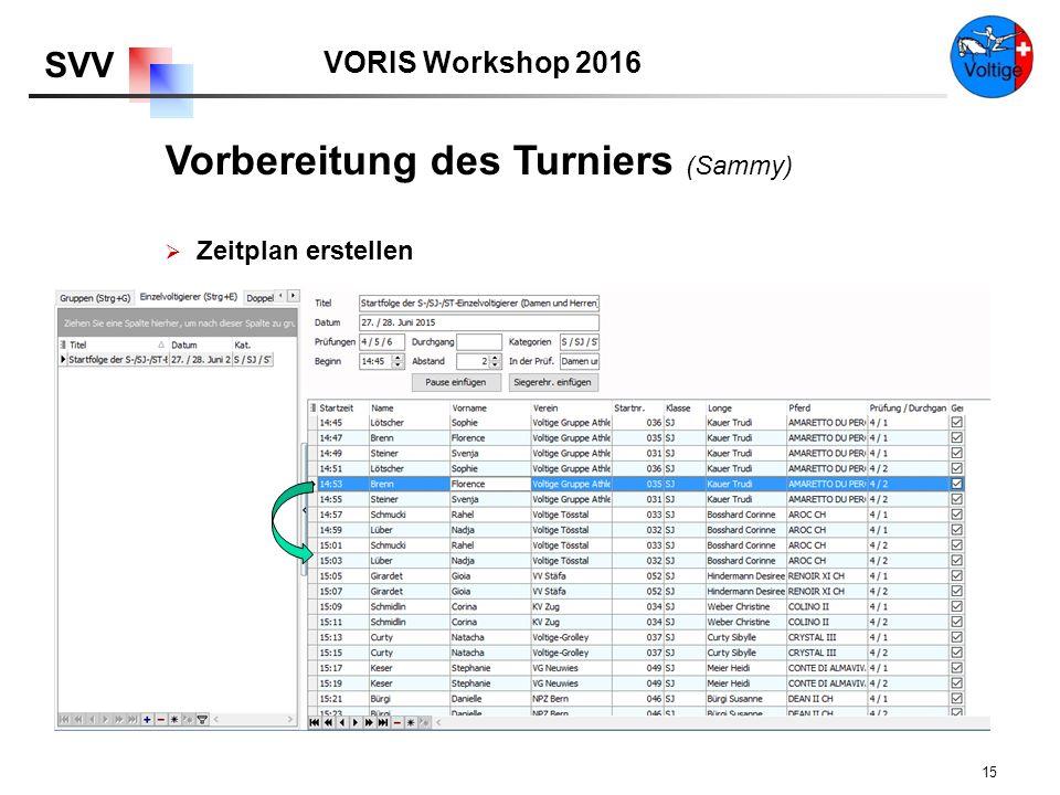 VORIS Workshop 2016 SVV 15  Zeitplan erstellen Vorbereitung des Turniers (Sammy)