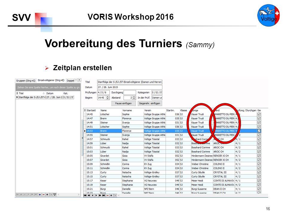 VORIS Workshop 2016 SVV 16  Zeitplan erstellen Vorbereitung des Turniers (Sammy)