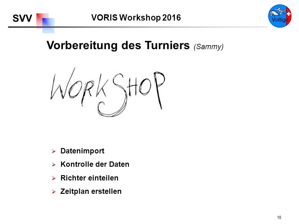 VORIS Workshop 2016 SVV 18  Datenimport  Kontrolle der Daten  Richter einteilen  Zeitplan erstellen Vorbereitung des Turniers (Sammy)