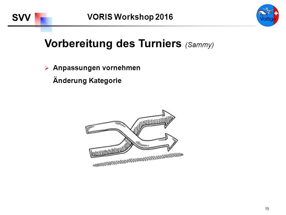 VORIS Workshop 2016 SVV 19  Anpassungen vornehmen Änderung Kategorie Vorbereitung des Turniers (Sammy)