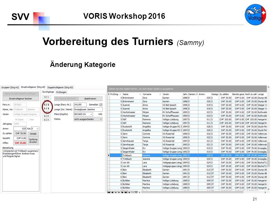 VORIS Workshop 2016 SVV 21 Änderung Kategorie Vorbereitung des Turniers (Sammy)