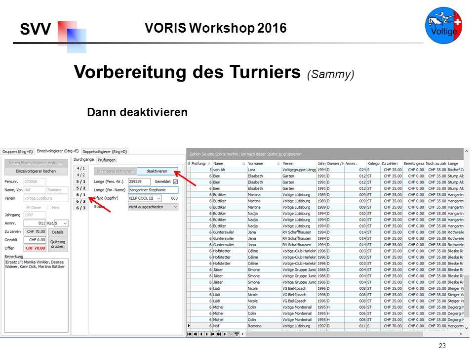 VORIS Workshop 2016 SVV 23 Dann deaktivieren Vorbereitung des Turniers (Sammy)
