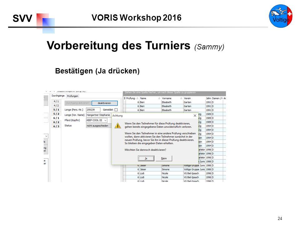 VORIS Workshop 2016 SVV 24 Bestätigen (Ja drücken) Vorbereitung des Turniers (Sammy)