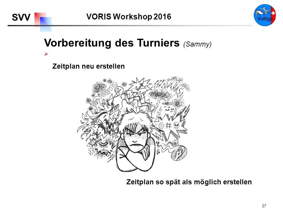 VORIS Workshop 2016 SVV 27  Zeitplan neu erstellen Zeitplan so spät als möglich erstellen Vorbereitung des Turniers (Sammy)