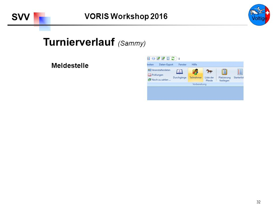 VORIS Workshop 2016 SVV 32 Meldestelle Turnierverlauf (Sammy)