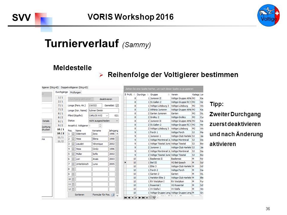 VORIS Workshop 2016 SVV 36  Reihenfolge der Voltigierer bestimmen Meldestelle Tipp: Zweiter Durchgang zuerst deaktivieren und nach Änderung aktivieren Turnierverlauf (Sammy)