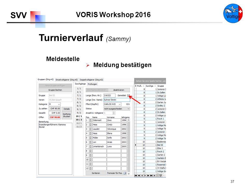 VORIS Workshop 2016 SVV 37  Meldung bestätigen Meldestelle Turnierverlauf (Sammy)