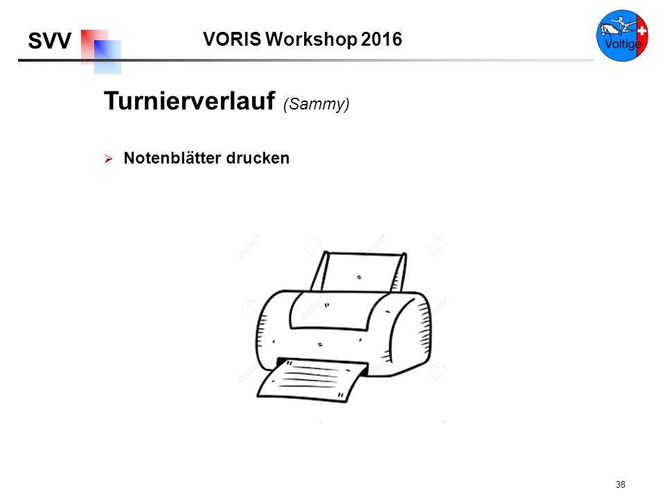 VORIS Workshop 2016 SVV 38  Notenblätter drucken Turnierverlauf (Sammy)