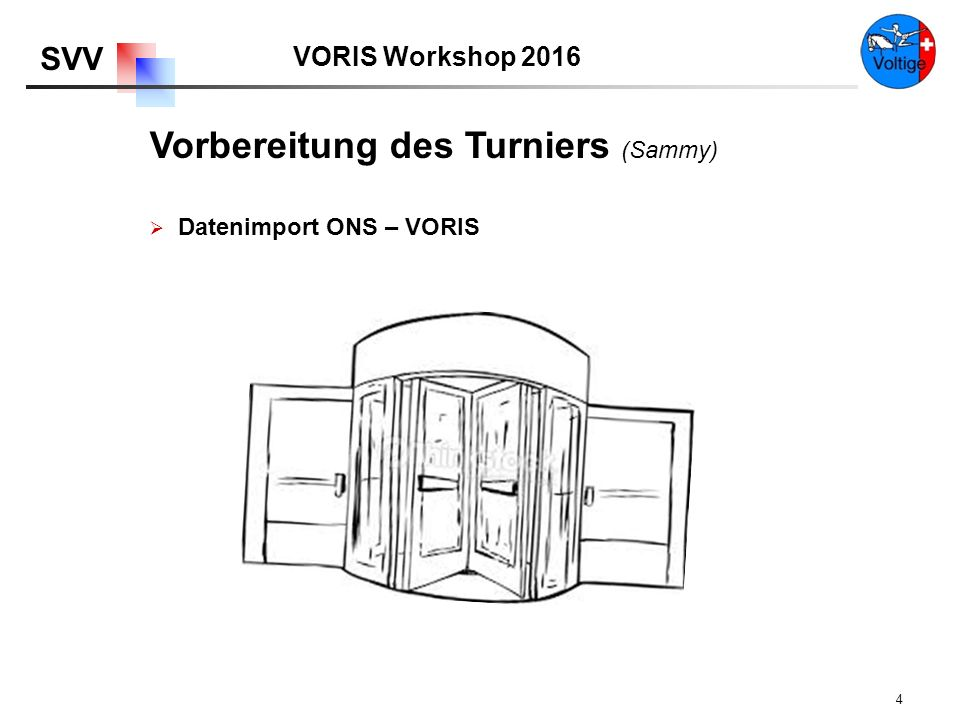 VORIS Workshop 2016 SVV 4 Vorbereitung des Turniers (Sammy)  Datenimport ONS – VORIS