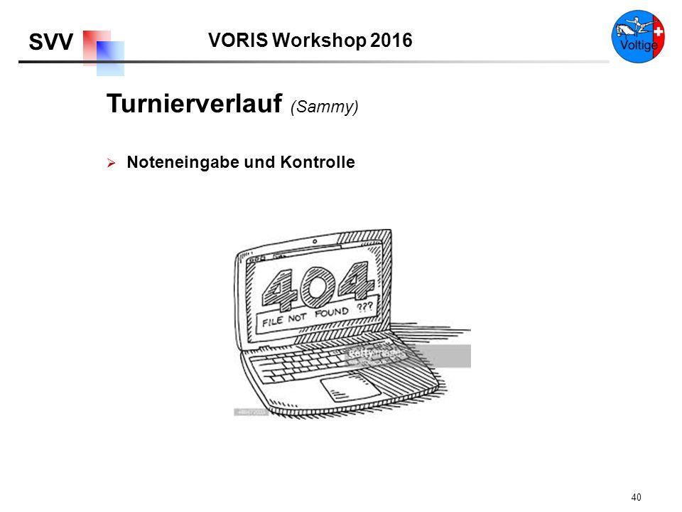 VORIS Workshop 2016 SVV 40  Noteneingabe und Kontrolle Turnierverlauf (Sammy)