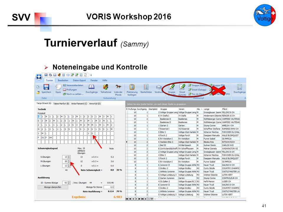 VORIS Workshop 2016 SVV 41  Noteneingabe und Kontrolle Turnierverlauf (Sammy)