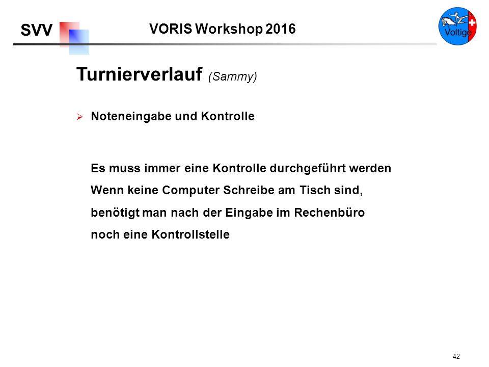 VORIS Workshop 2016 SVV 42  Noteneingabe und Kontrolle Es muss immer eine Kontrolle durchgeführt werden Wenn keine Computer Schreibe am Tisch sind, benötigt man nach der Eingabe im Rechenbüro noch eine Kontrollstelle Turnierverlauf (Sammy)