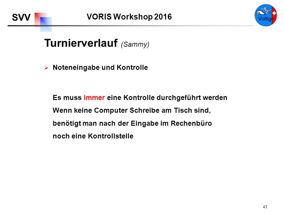 VORIS Workshop 2016 SVV 43  Noteneingabe und Kontrolle Es muss immer eine Kontrolle durchgeführt werden Wenn keine Computer Schreibe am Tisch sind, benötigt man nach der Eingabe im Rechenbüro noch eine Kontrollstelle Turnierverlauf (Sammy)