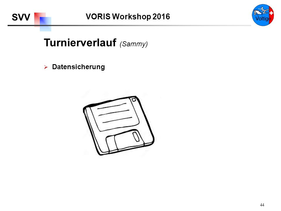 VORIS Workshop 2016 SVV 44  Datensicherung Turnierverlauf (Sammy)